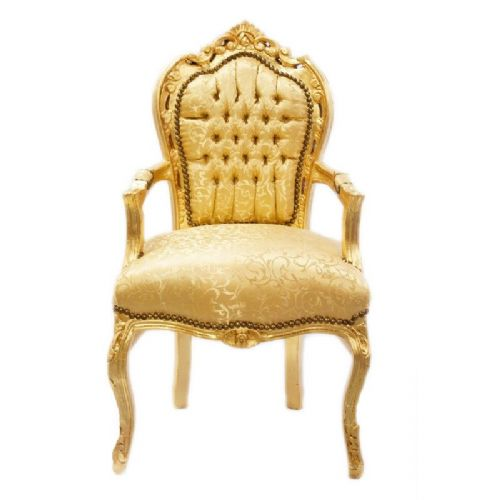 CHAIRS FRANCE BAROQUE STYLE DINING ROYAL CHAIR WITH ARMRESTS GOLD / GOLD #70F31